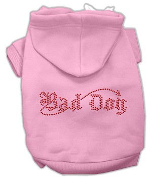 Bad Dog Rhinestone Hoodies Light Pink XS
